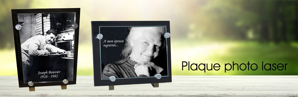 Plaque photo laser sur granit